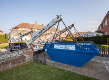 mega skip in the garden