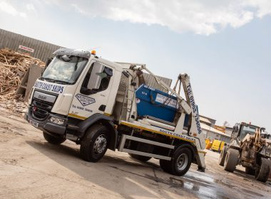 south coast skips lorry on site