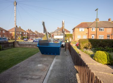 large skip in the garden