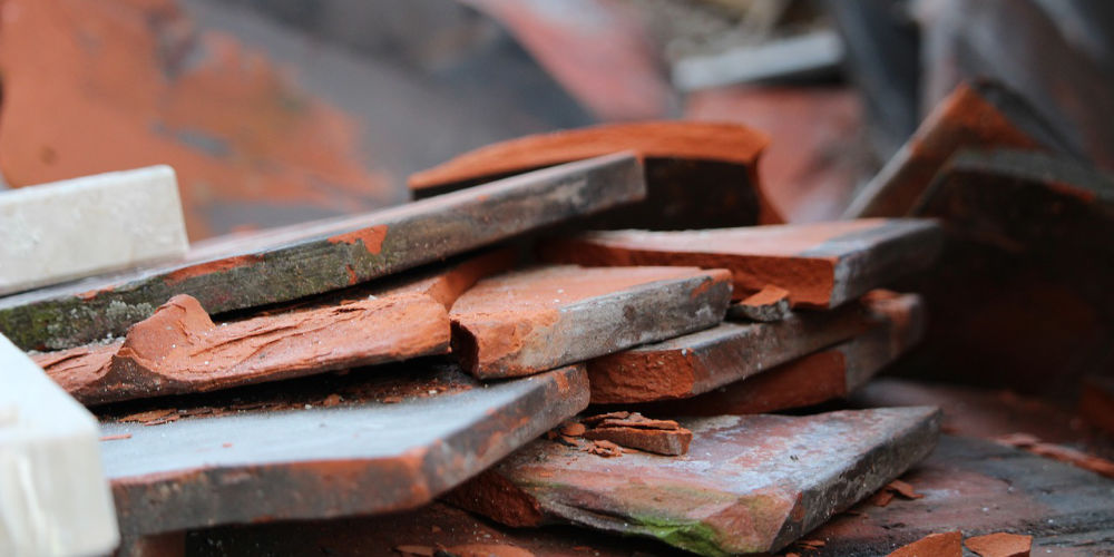 building tiles to dispose of