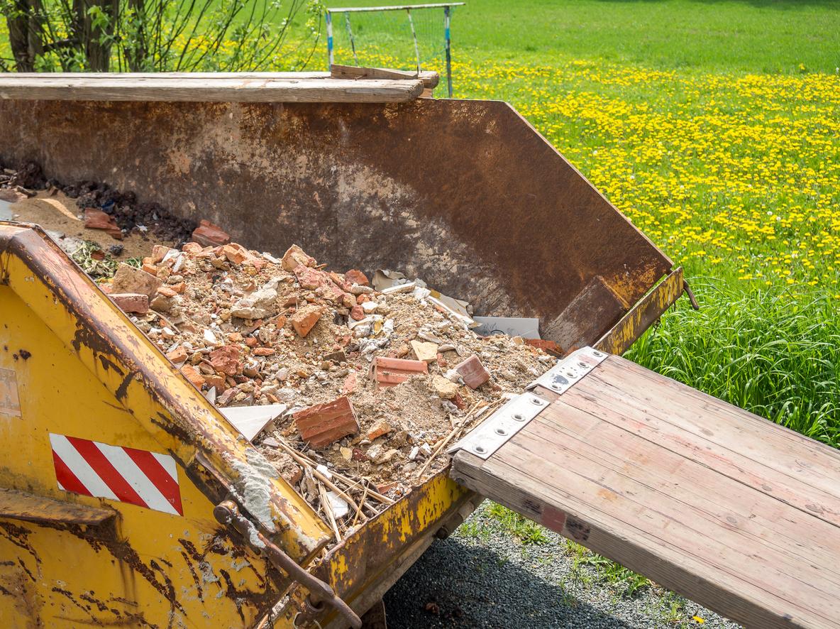 Summer waste in skip
